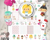 Alice Stickers, Planner Stickers, Alice in Wonderland, Wonderland Stickers, Printable Planner Stickers, Planner Accesories, Digital Stickers