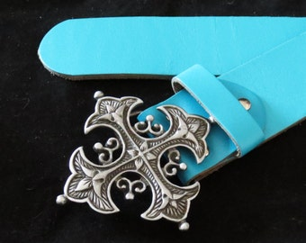 Turquoise Leather Cowhide Belt Waistband with Antique Silver Gothic Buckle XXL Unisex