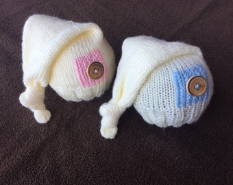 Newborn twin hats/Hand knitted/Photography Props