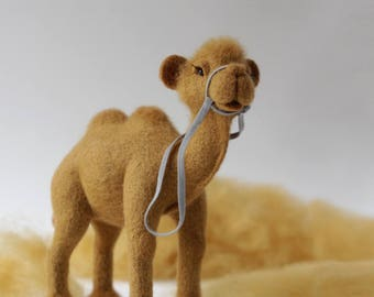 Needle felted camel, art doll animal, collectible toy, camel sculpture, funny gift for friends, whimsical decor, unique handmade toy