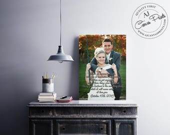 First Dance Song Lyrics with photo on canvas - Unique 1st anniversary wall art gift