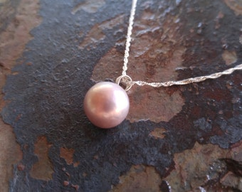 Perfect Pink Pearl Necklace, Bridesmaid jewelry, Birthday jewelry, mother's day