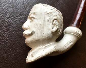 Antique clay pipe Gambier Paris no. 1684 with President Taft, 1912