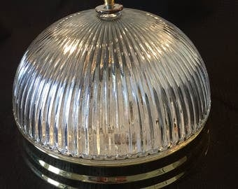 "Mid Century Holophane Ribbed 11"" Light Fixture"