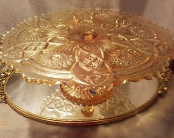 Fashion Amber Cake Stand By Imperial Glass Co 1950's