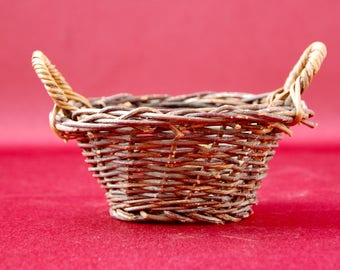Small French Antique Wicker Basket