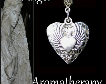 Essential Oil Diffuser Heart Angel Wings Necklace Young Living Doterra Aromatherapy