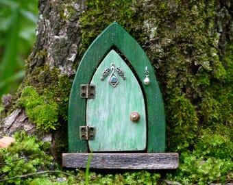Opening Wooden Fairy Door, Green Fairy Door with Upcycled Jewellery