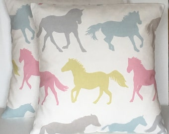 """2 x 16"""" (40cm x 40cm) Stampede Pink duck egg blue & lime green horse print cushion covers"""