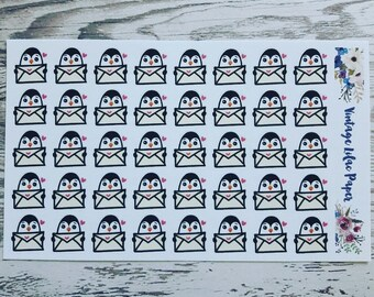 40 Badgley the Penguin Happy Mail Planner Stickers: Perfect for any size planner!