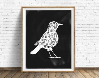 """black and white art, wall art prints, printable art, instant download, quote prints, quote wall art, birds, drawing - """"The Shape of Wings"""""""