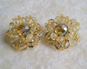 Vintage Western Germany Crystal Bead Cluster Clip On Earrings
