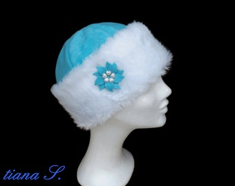 Fur Cap aqua white, winter hat, size S