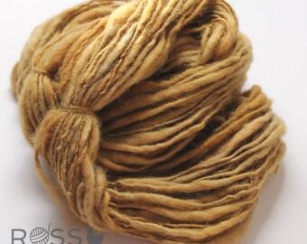 Handspun Yarn -  Wheat 53yds TNT Thick & Thin Art Yarn Shetland
