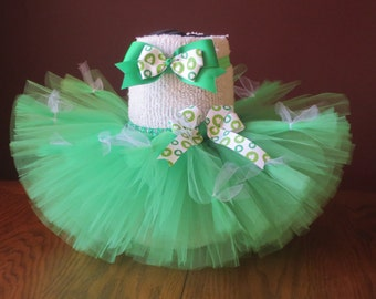 Infant~ Baby~ Green Tutu St. Patrick's Day Tutu and Hair Clip/Headband ~Size 6-12 months: ~ Ready To Ship!