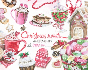 Christmas clipart. Sweets clipart. Christmas watercolor clipart. Christmas sweets. Christmas candy. Gingerbread clipart.