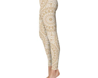 Leggings for Yoga - Cream Leggings, Tan Mandala Yoga Pants, Bohemian Art Tights