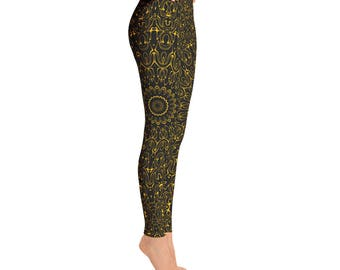 Amber Yoga Pants - Black Leggings with Yellow Mandala Designs for Women, Printed Leggings, Pattern Yoga Tights