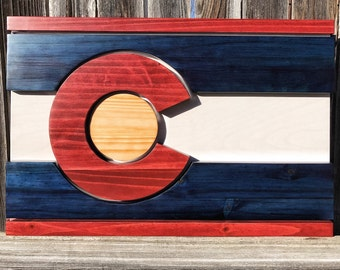 One Of Kind 3D Striped Colorado Flag Stained Wall Art