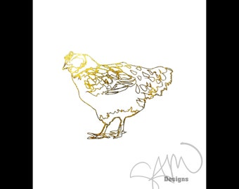 Golden Morning Hen Linear Shiny Metallic Gold Foil Print