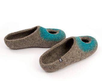 Summer Slippers for Women in Natural Organic Boiled Wool,  Slip on Slipper Flats with venthole, comfy wide slippers cool Mothers day gift