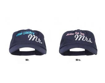 One Lucky Mr & Soon to be Mrs Embroidered Low Cap