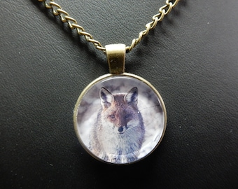 """Fox, Fox, Locket necklace, pendant in Bronze, with chain 24 """"with no. 0875"""