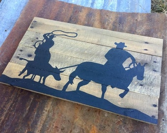 Team Roping Silhouette Pallet Sign