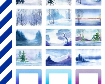 Winter Blue Boxes, Premium Matte Vinyl, Planner Stickers, Removable, Repositionable, For ECLP + Other Planners, Vinyl Sticker