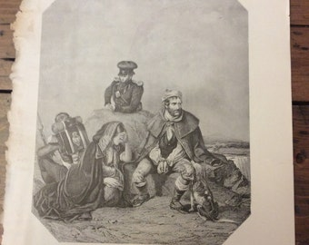 Antique Print - Wood Engraving, Hall's The Whiteboy, 1892 Book Page (B025)
