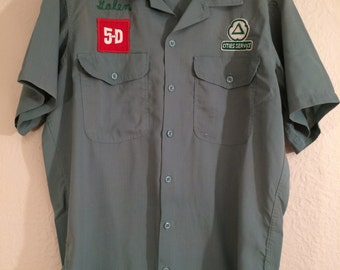 Cities Services Gas Station Shirt and Pants Uniform Vintage 60's