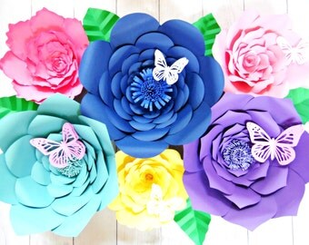 Giant Flower Templates, Paper Flower Templates & Tutorials, Large Backdrop Flowers, Set of 6 Templates