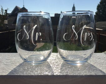 Mr. or Mrs. Etched Glass