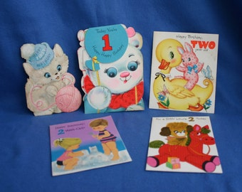 Lot of Five Vintage 1st and 2nd Birthday Cards