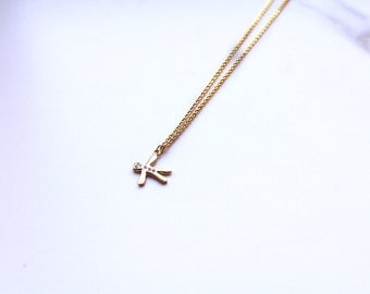 Small Gold Plated 'Gingerbread Man' Charm Necklace