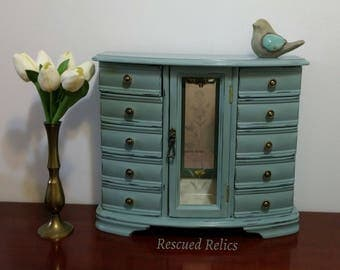 Jewelry Box hand painted in Annie Sloan Duck Egg Blue, lightly distressed and clear waxed with off white lining