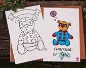Marvel Winter Soldier Bucky Barnes Bucky Bear Coloring Postcard - Hand Illustration Coloring Page - Coloring Book - Ready To Mail