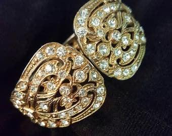 Vintage Clamp Rhinestone Bracelet