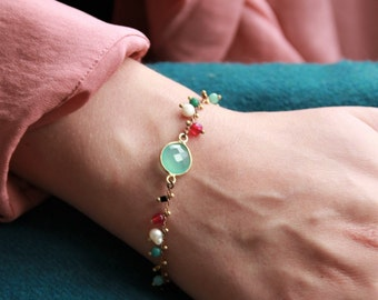 Bracelet chain beads and stone onyx or calcedonite seagreen, chic and Bohemian, Made in Paris, mother's day