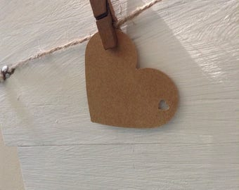 Kraft Paper Heart Die Cut Name Tags