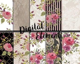 Digital Paper, Digital Scrapbook Paper, Pink Rose Background Paper, Watercolor Digital Scrapbook Paper, Rose Printable Paper. No. P152