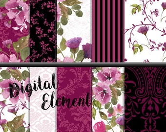 Digital Fuchia Rose Shabby Chic, Digital Watercolor Floral Paper, Pink and Black Background Paper, Vintage Damask Digital Paper. No. P169