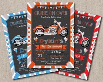 Motorcycle Birthday Invitation, Motorcycle Invite, Chalkboard, Orange, Red, Blue, printable