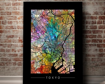 Tokyo Map - City Street Map of Tokyo Japan - Art Print Watercolor Illustration Wall Art Home Decor Gift - PRINT