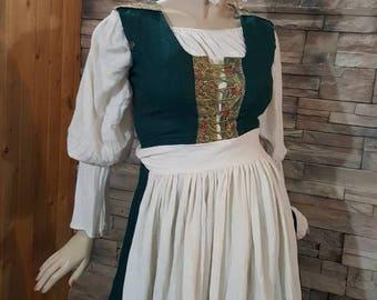 Renaissance, medieval blouse ,bonnet  and apron,gauze cotton apron set