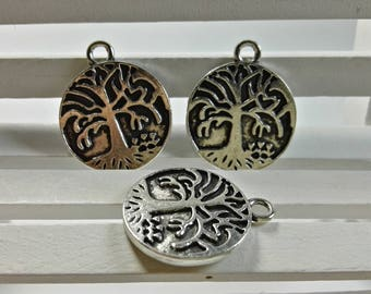 50 pcs  Double Sided  Tree Of Life charms findings, Antique Silver  Tree Of Life pendants bracelet for DIY supplies,Wholesale