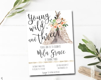 Third Birthday Invitation Printable - Young Wild and Three Invitation - Boho Birthday Invitation - Tribal Birthday Invite - Teepee Birthday