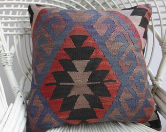 Embroidered Kilim Pillow 20x20 Handwoven Striped Kilim Pillow Throw Pillow Decorative Kilim Pillow  1156