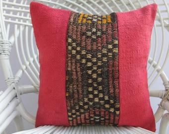 patchwork kilim pillow cover 16x16 turkish kilim pillow cover patchwork pillow pink pillow embroidered pillow 2361