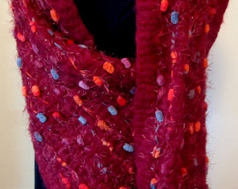Red Wine Handwoven Scarf